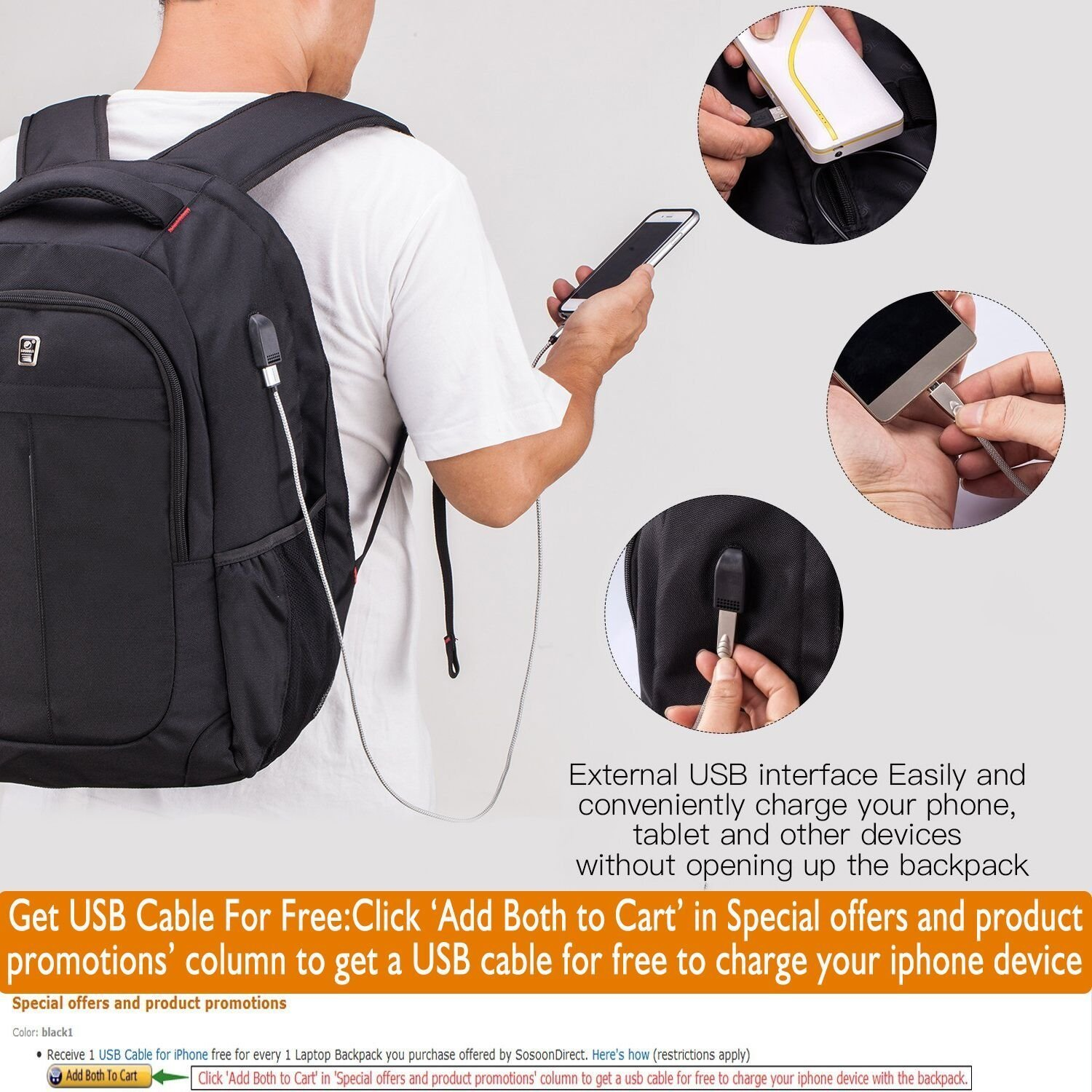 Sosoon Laptop Backpack, 17.3 Inch Laptop Backpack with USB Charging Feature for Android, Get Free USB Cable in Applicable Promotion Or Special Offers and Product Promotions If Charging for iPhone