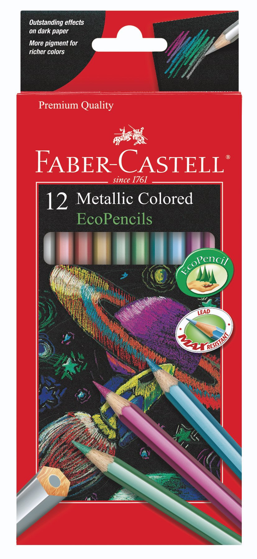 Faber Castell Metallic Colored Ecopencils - 12 Break Resistant Coloring Pencils by Faber Castell