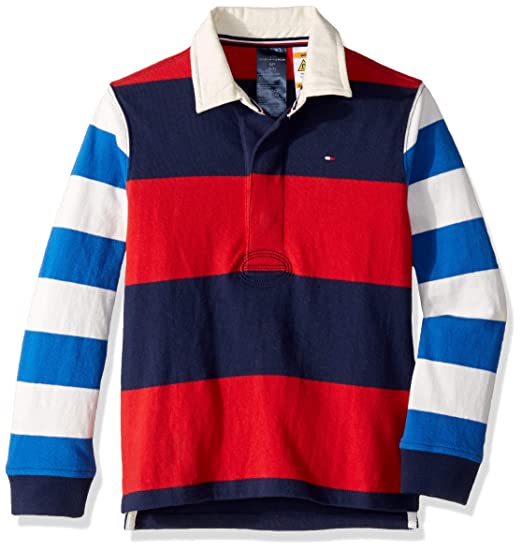 3285e5654cb Tommy Hilfiger Adaptive Boys' Rugby Shirt with Magnetic Buttons, Peacoat,  ...