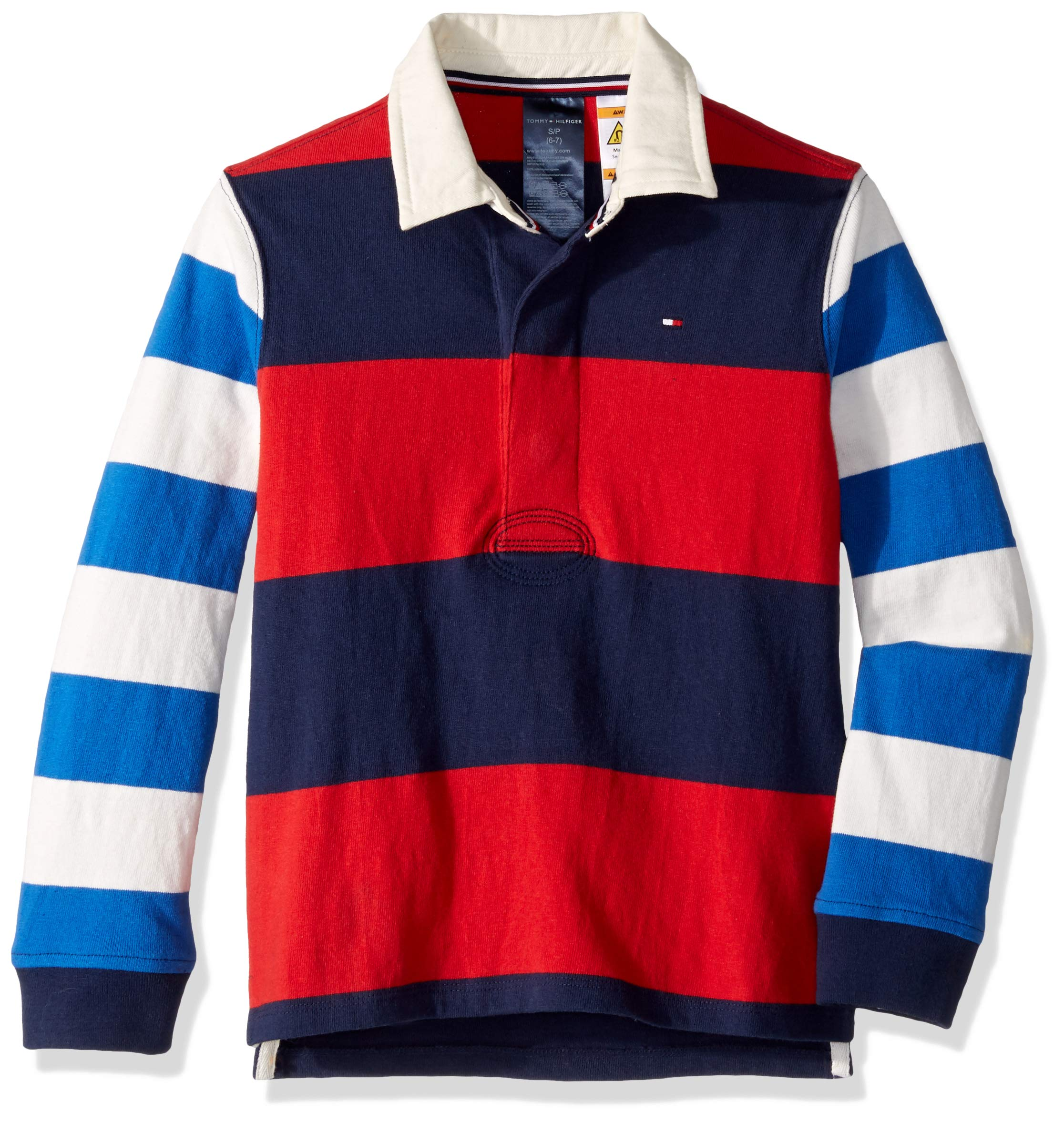 Tommy Hilfiger Boys' Adaptive Rugby Shirt with Magnetic Buttons, Red Coat Medium