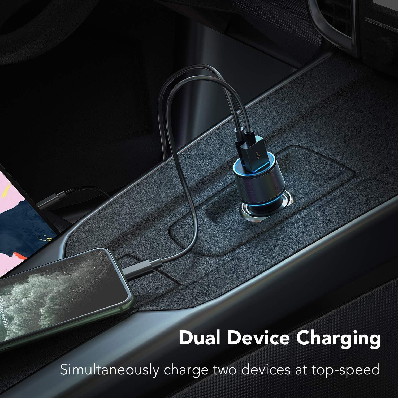 POWLAKEN Car Charger,Super Fast USB C 18W PD Car Charger,Total 36W Dual USB Car Charger Adapter for iPhone 11//11 Pro//11 Pro MAX//XS//MAX//XR//X//8//7//6//Plus,iPad Pro//Air 2//Mini,Galaxy Series,LG,Nexus