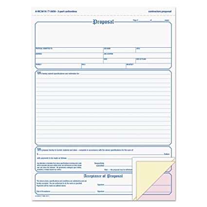 Proposal Forms | Amazon Com Tops Proposal Form 3 Part Carbonless 8 5 X 11 Inches