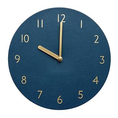 thehaki Decorative Wall Clock Silent & Non-Ticking Quartz Clock PU Leather Lightweight 0.4lb Round 9  (Navy)