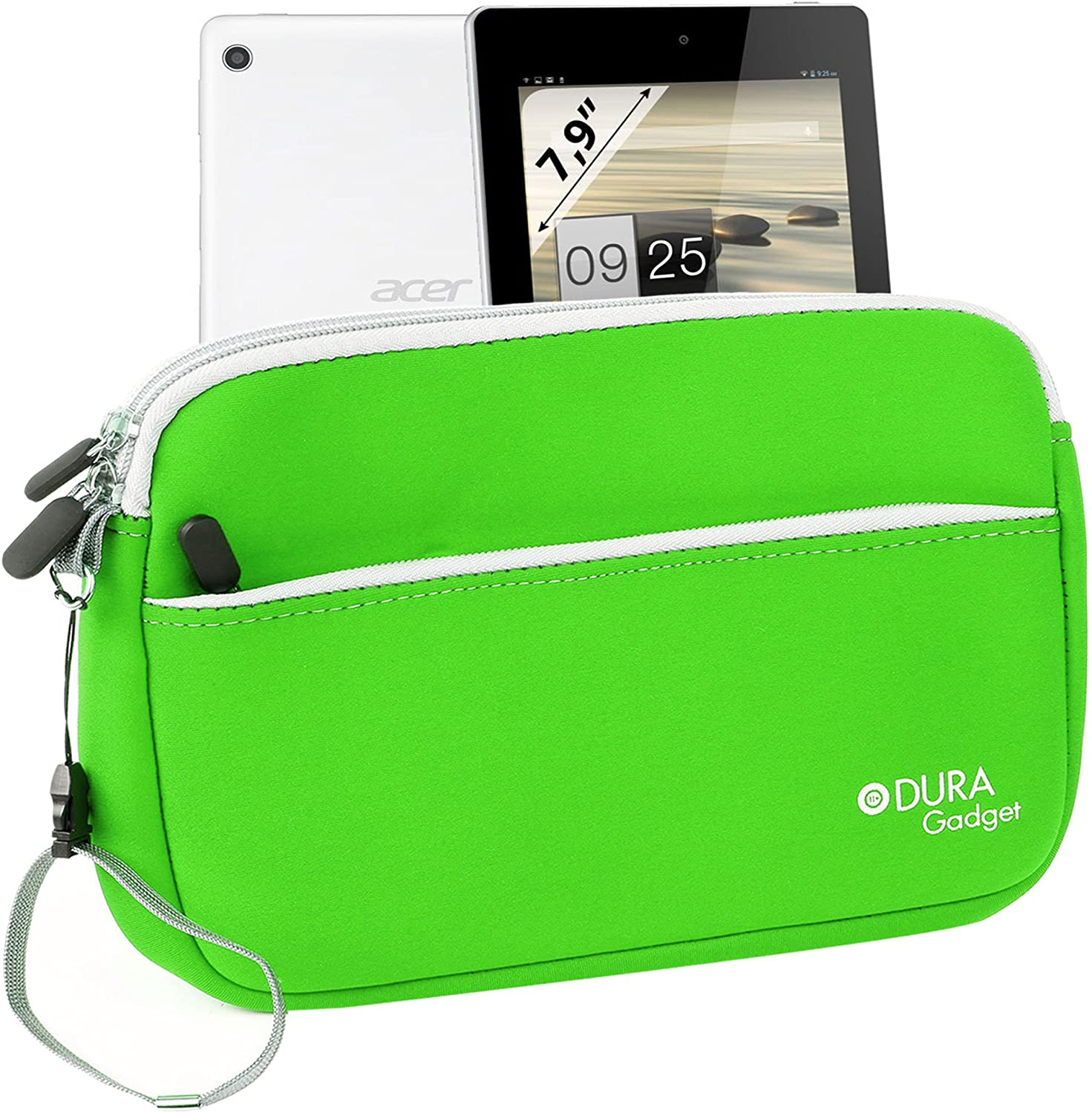 DURAGADGET Bright Green Neoprene Case w/Front Storage & Dual Zips - Compatible with Acer Iconia A1-810-L416 7.9-Inch Tablet