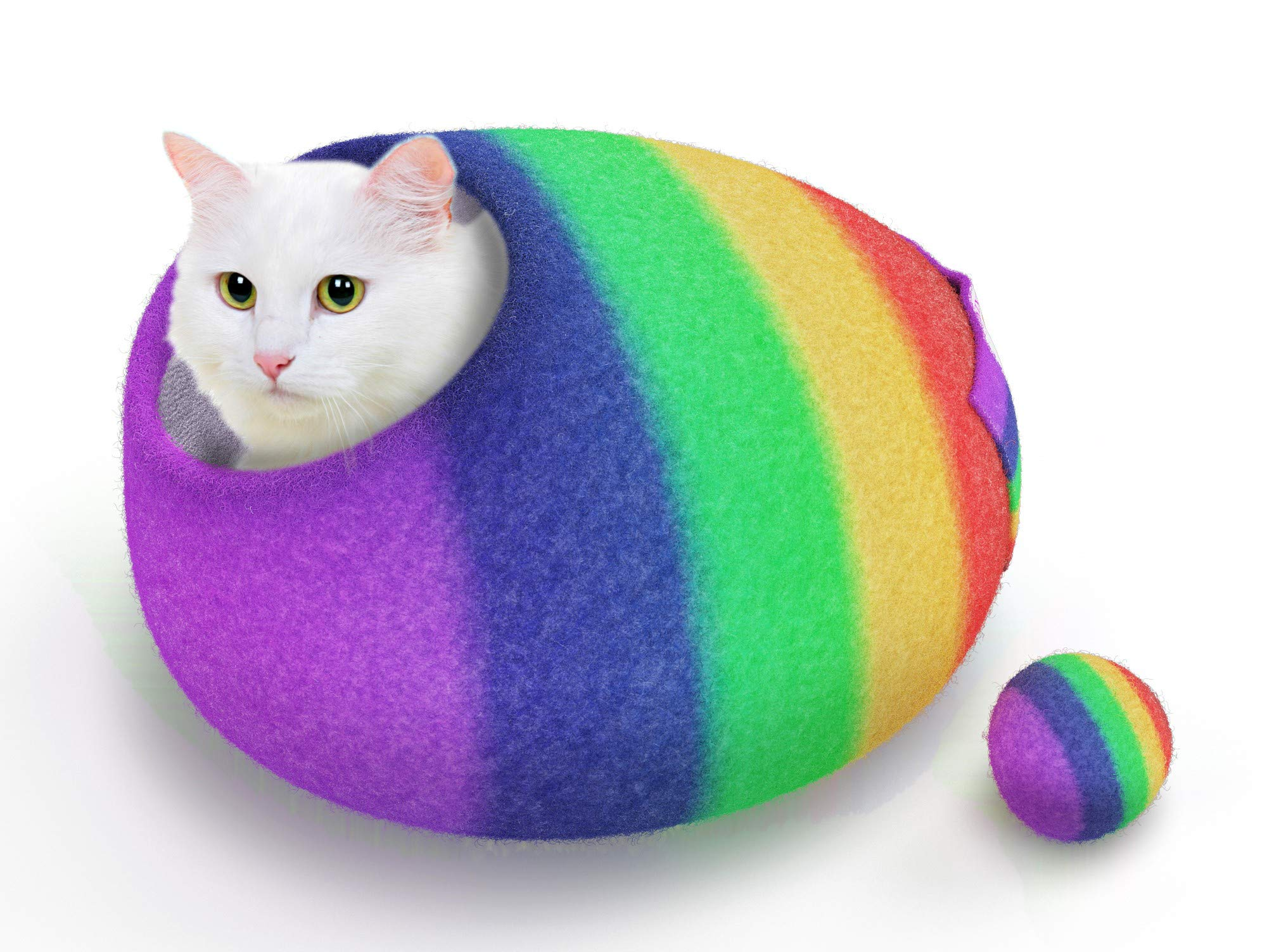 TWIXIE-PIXIE Premium Luxury Felt Cat Cave Bed (Large) -Handmade with Soft 100% Merino Wool -Keeps Warm in the Winter and Cool in the Summer -Thick Firm Shape -Included Felt Ball Cat Toy and Travel Bag by TWIXIE-PIXIE