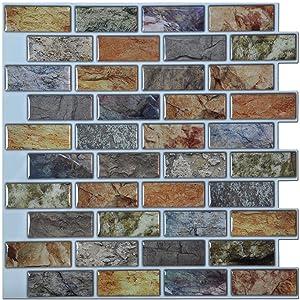 "Art3d 10-Piece Peel & Stick Kitchen/Bathroom Backsplash Sticker, 12"" X 12"" Faux Ceramic Tile Design"