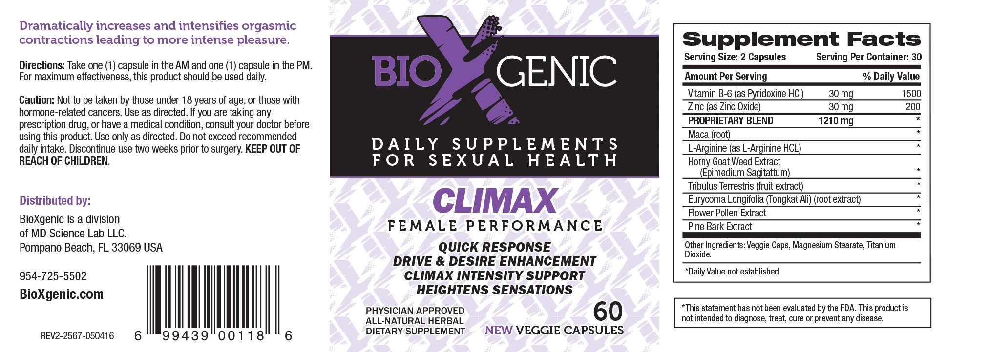 BioXGenic Climax Female Performance 60 Capsules