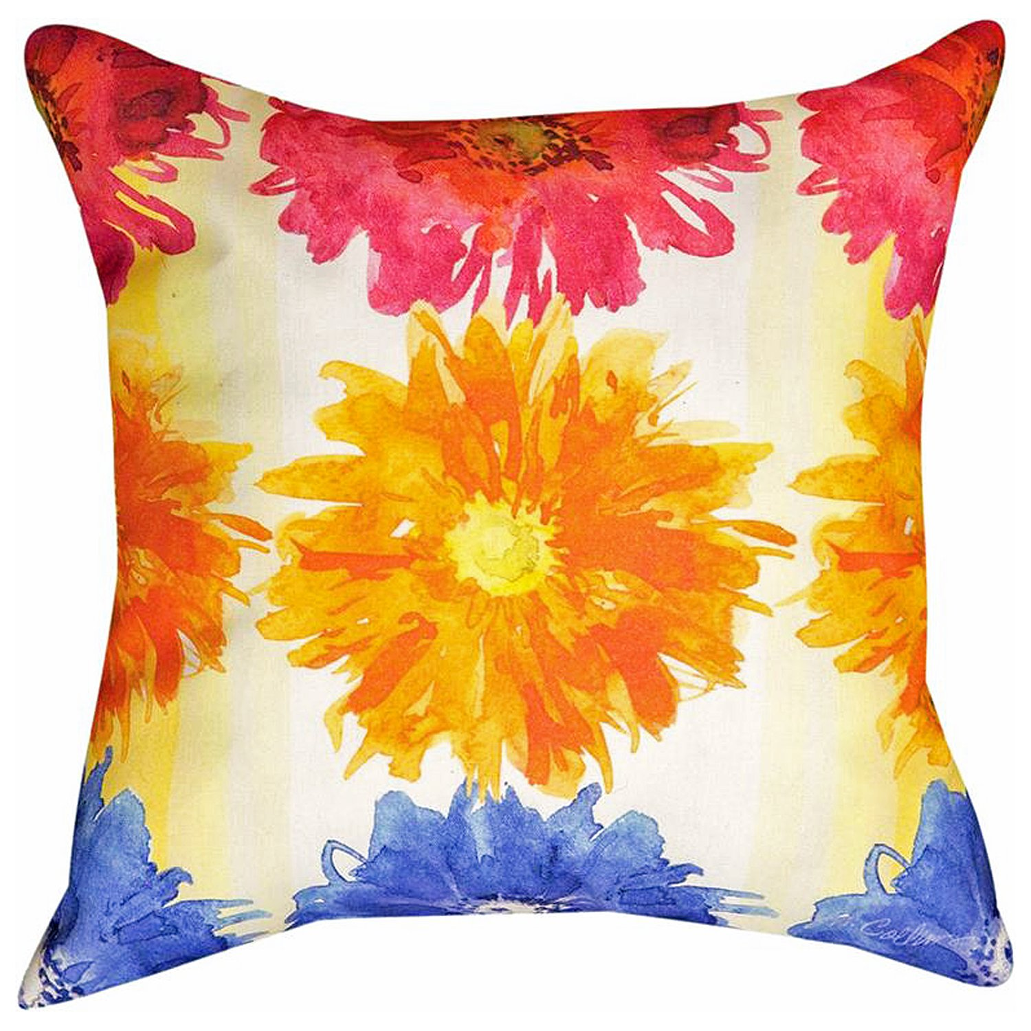 DECORATIVE PILLOWS - ''FLOWER POWER'' INDOOR OUTDOOR PILLOW - 18'' SQUARE