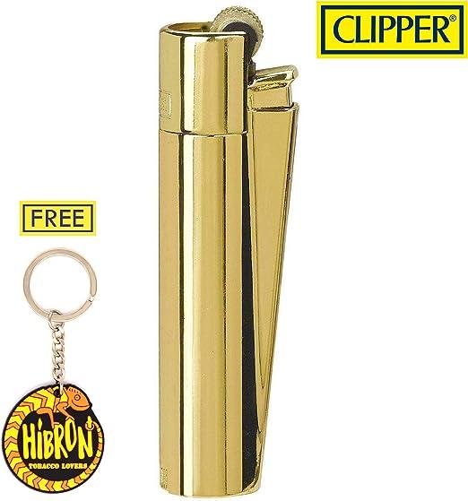 HIBRON Clipper 1 Encendedor Mechero Clásico Largo Metal Gold Oro Dorado Brillante Pulido Y 1 Llavero Gratis: Amazon.es: Hogar