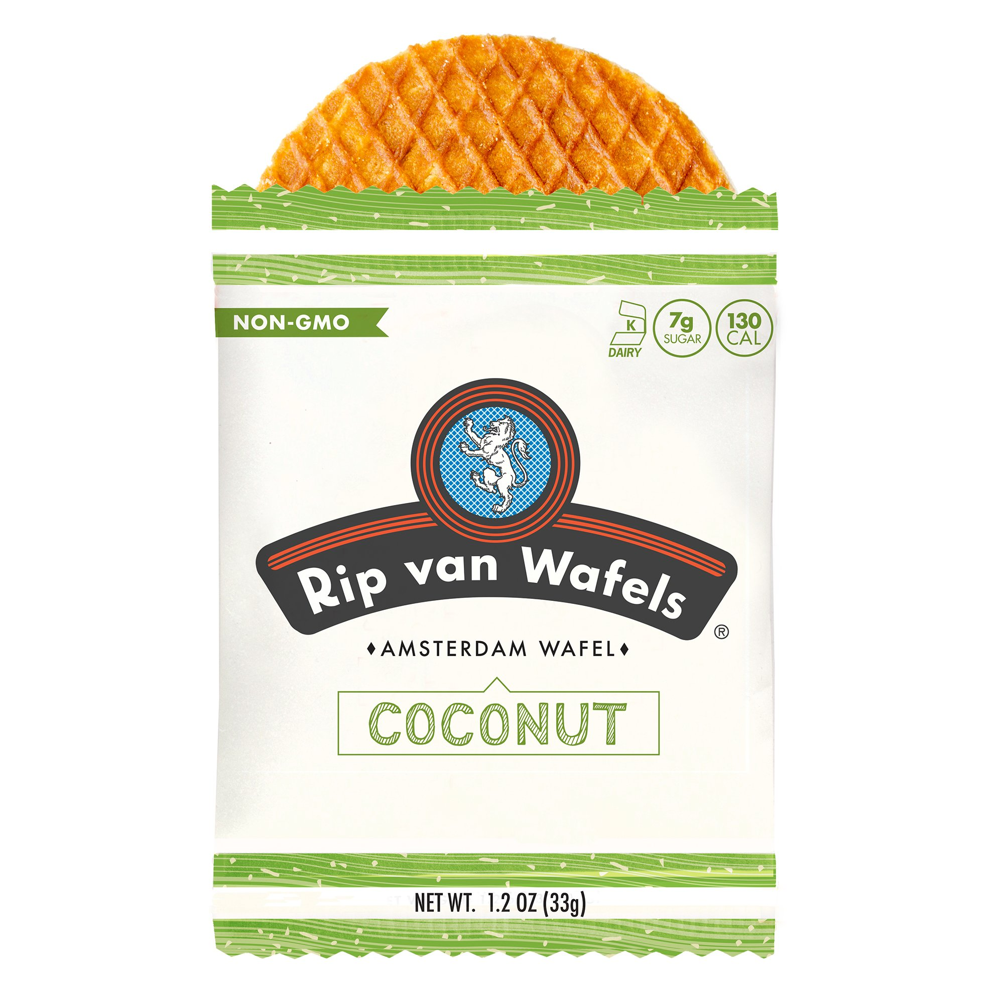 Rip Van Wafels Snack Wafels, Coconut, 1.2oz, 16 Count