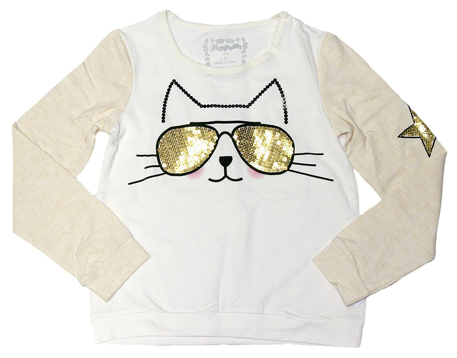 Flapdoodles Big Girls Long Sleeve Shirt with Fashionable Sequined Cat