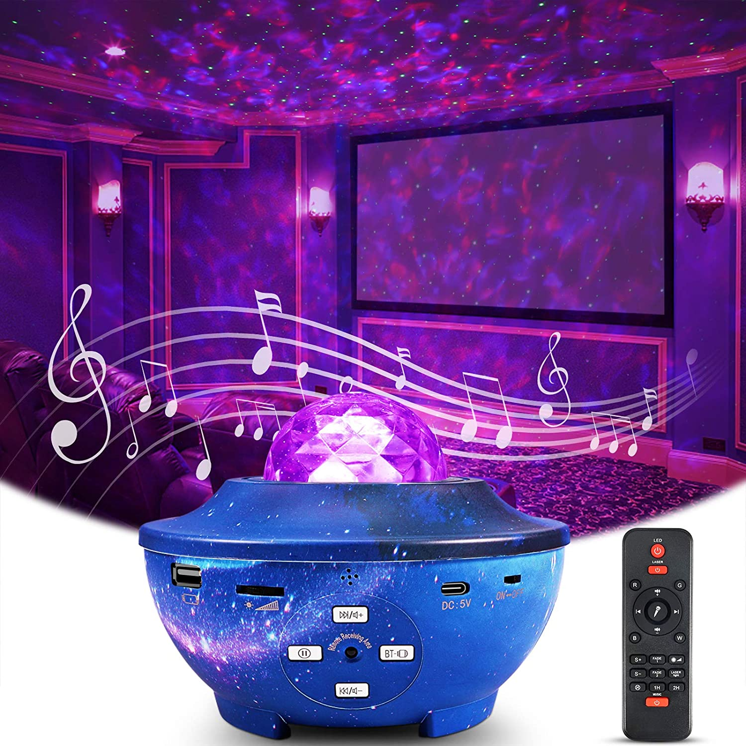 Smart WiFi Star Projector Delicacy Galaxy Projector Ocean Wave Starry Sky Night Light Projector with Music Bluetooth Speaker,Rotating LED Night Light for Home Theatre Kids Adults Room Decoration