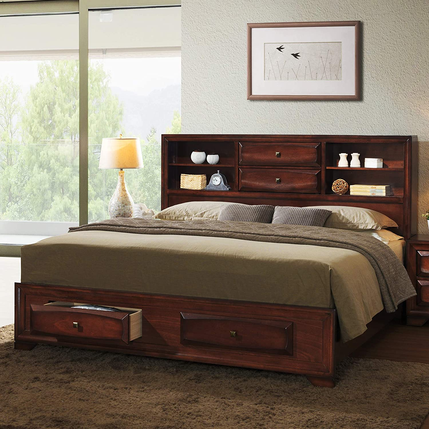 Espresso Roundhill Furniture Myory Contemporary Wood Upholstered Panel King Bed 4-Piece Set