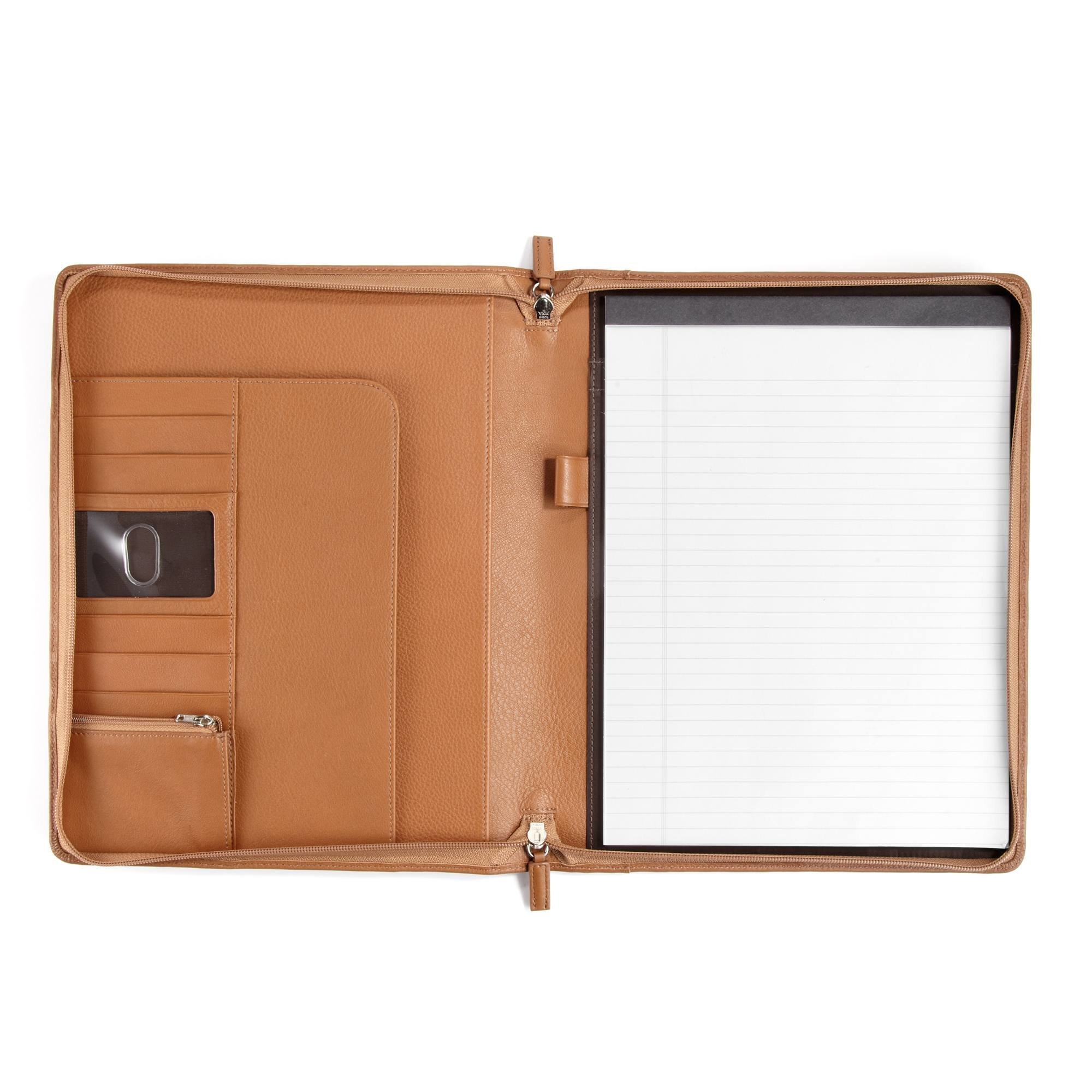 Leatherology Classic Zippered Padfolio - Full Grain Leather - Cognac (brown)
