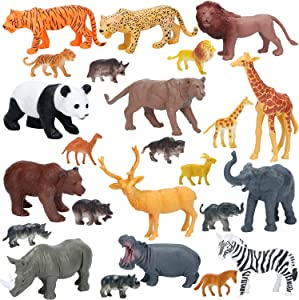 Jumbo Safari Animals Figures, Realistic Large Wild Zoo Animals Figurines, Plastic Jungle Animals Toys Set with Tiger, Lion, Elephant, Giraffe Eduactional Toys Playset for Kids Toddler Party Supplies