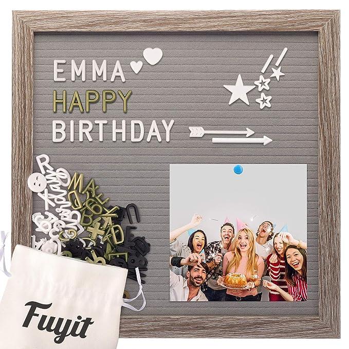Fuyit Fieltro Letter Board 30x30 cm,Letter Board Retro Gris, 600 Caracteres Blanco Dorado Negro,Emoji y Palabras y símbolos cursivos,Soporte ...