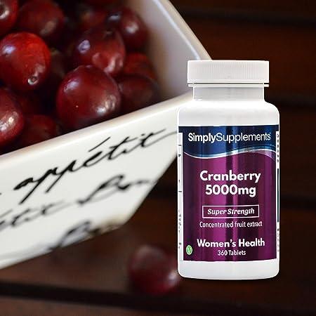 Arándanos rojos 5000mg - Apto para veganos - 360 comprimidos - Simply Supplements: Amazon.es: Salud y cuidado personal