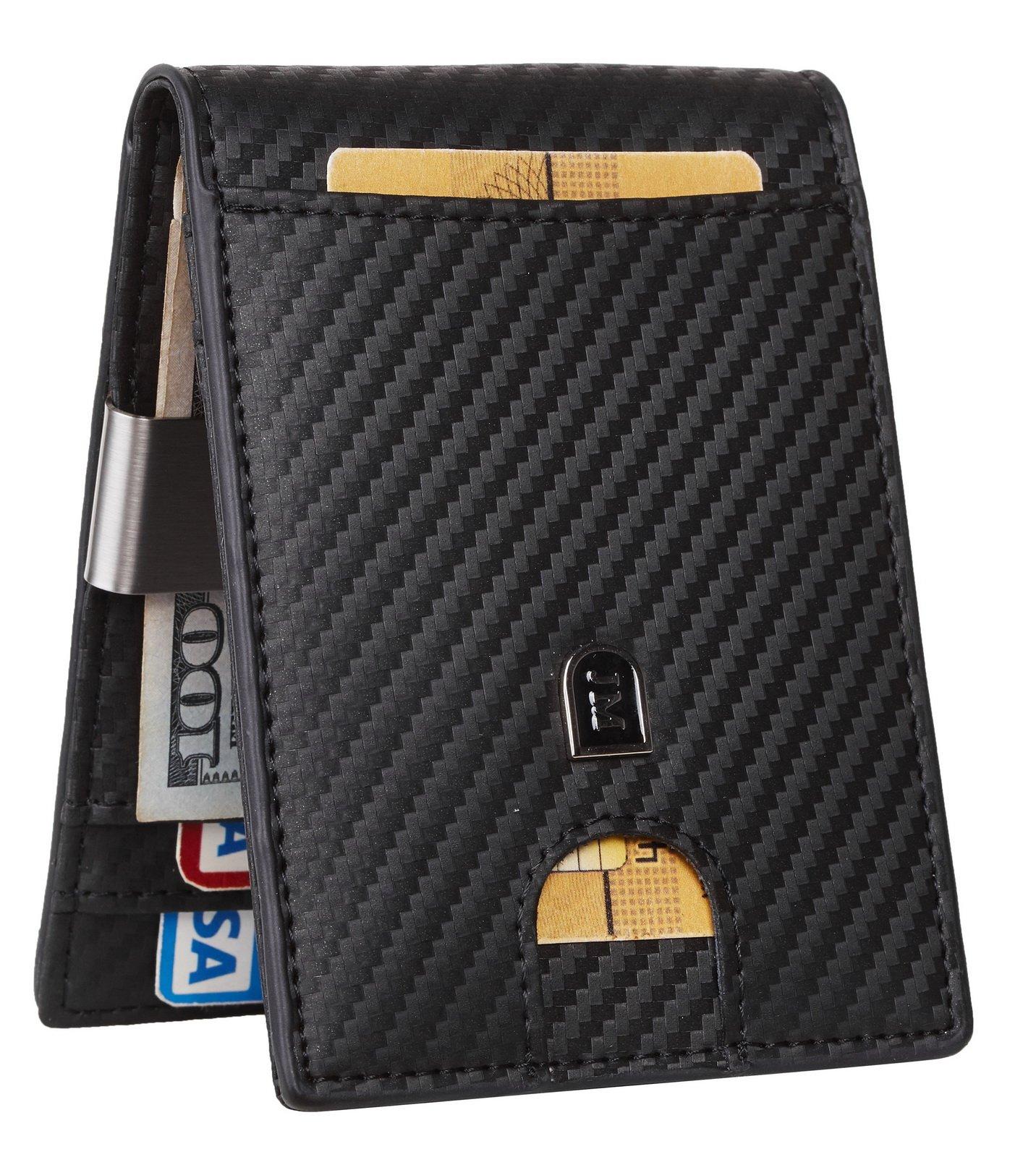JM Mens Slim Bifold Wallet Money Clip RFID Blocking Travel Wallet Minimalist Credit Card Holder (carbon fiber black w/metal clip slim size)