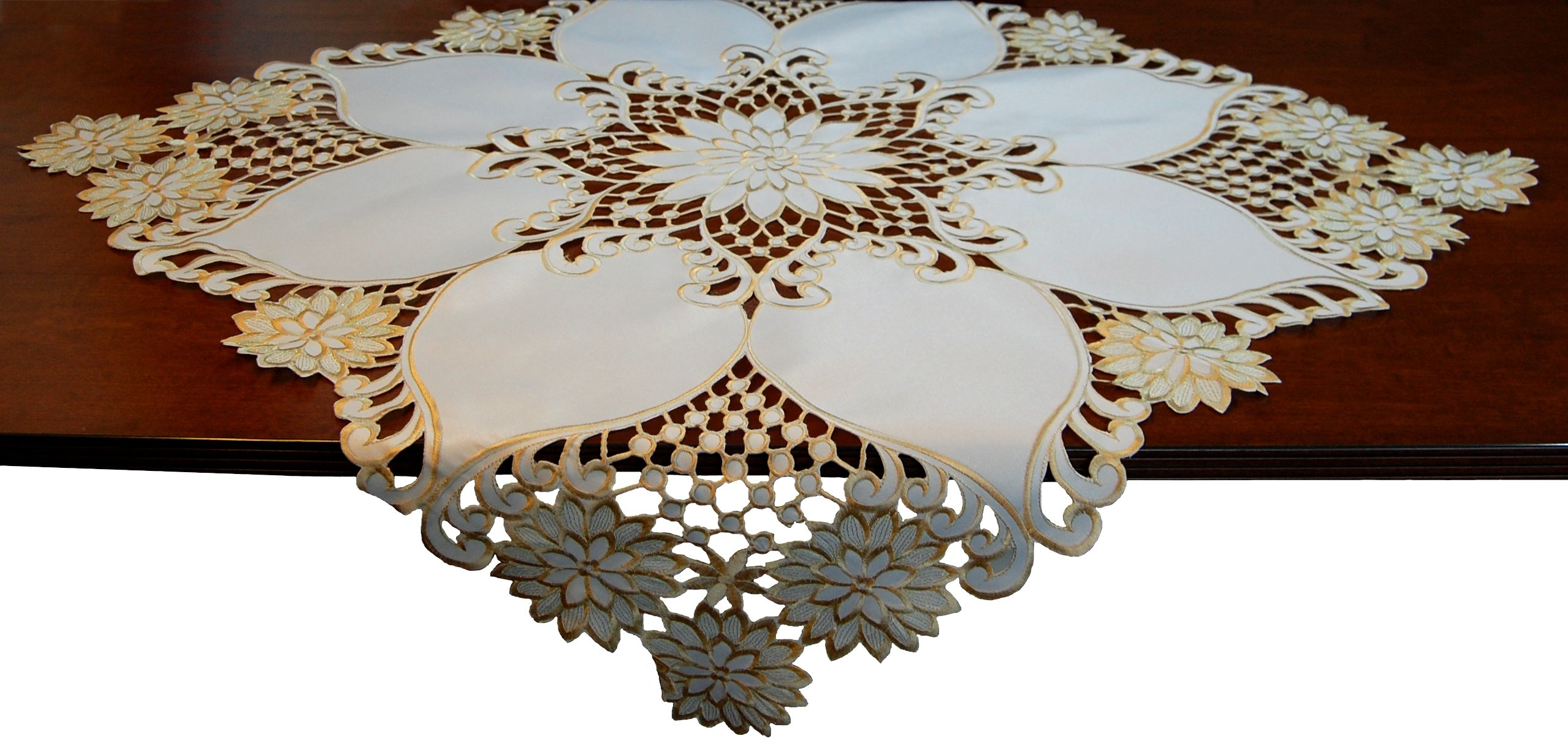 EcoSol Designs Embroidered Table Topper Centerpiece (33''x33'', White Lily)