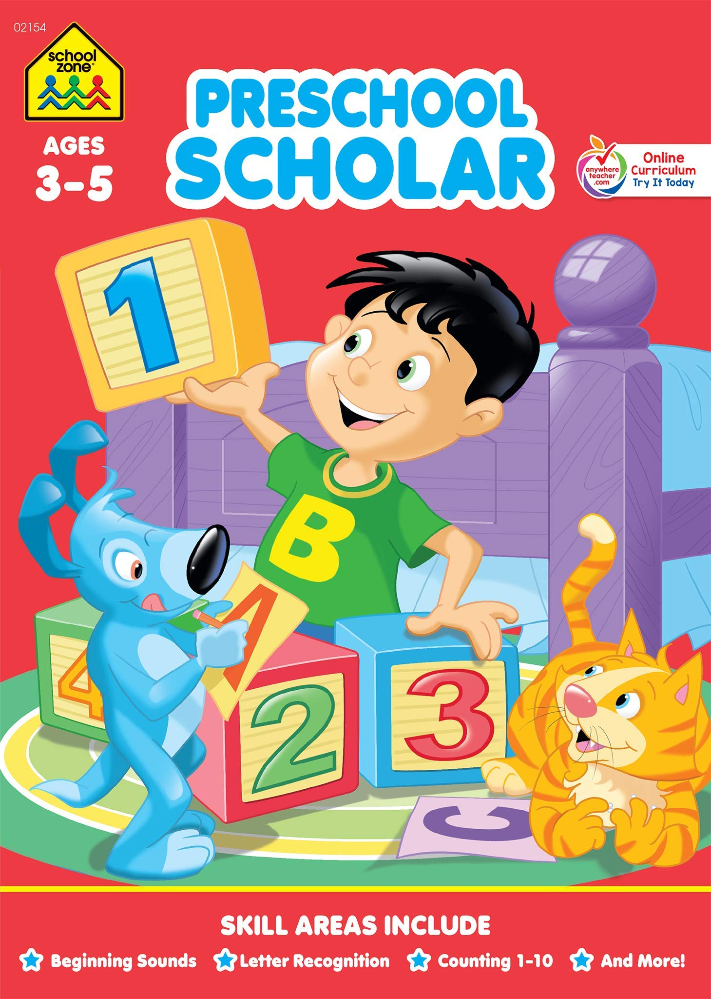 School Zone - Preschool Scholar Workbook - 32 Pages, Ages 3 ...