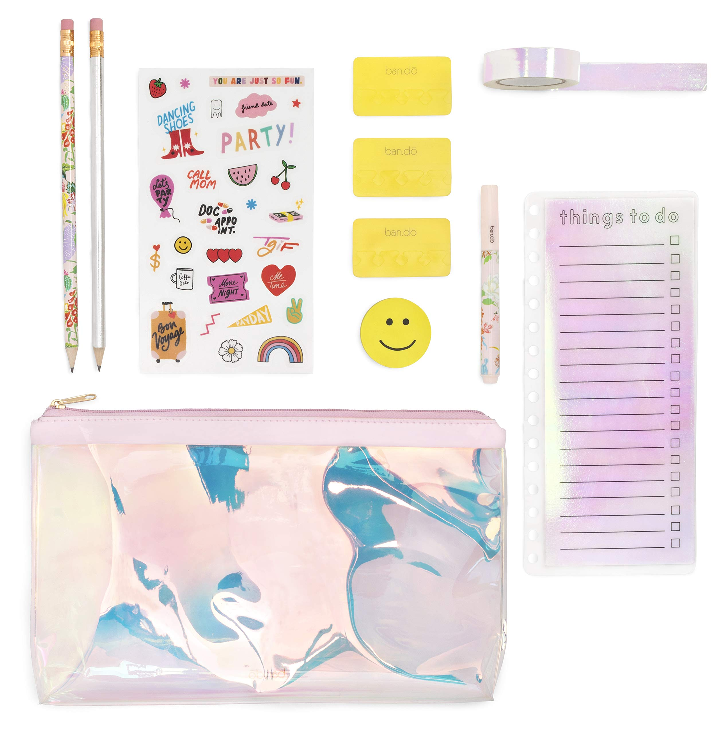 Ban.do Ultimate Planner Pack | Pencil Pouch with Stickers, Paper Tape, Pencils, and More | Pearlescent by ban.do