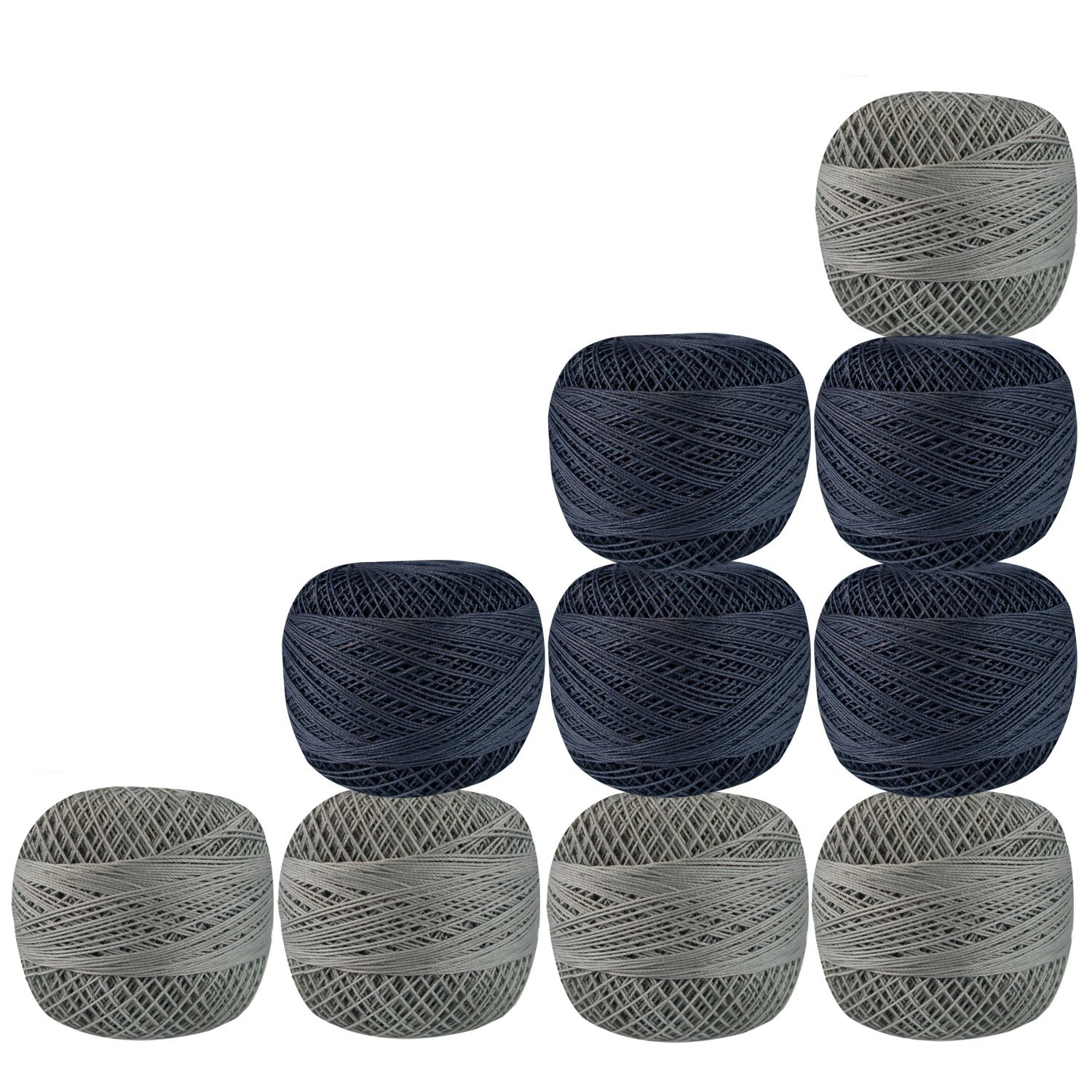 Lot of 10 Pcs Gray Color Cotton Crochet Thread Cross Stitch Knitting Yarn Tatting Doilies Skeins Lacey Craft