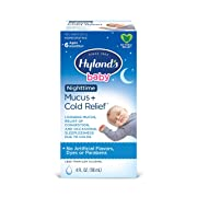 Hyland's Baby Mucus and Cold Relief, Nighttime, Loosens Mucus, Relief of Congestions and Occasional Sleeplessness, 4 Fl Oz (Packaging May Vary)