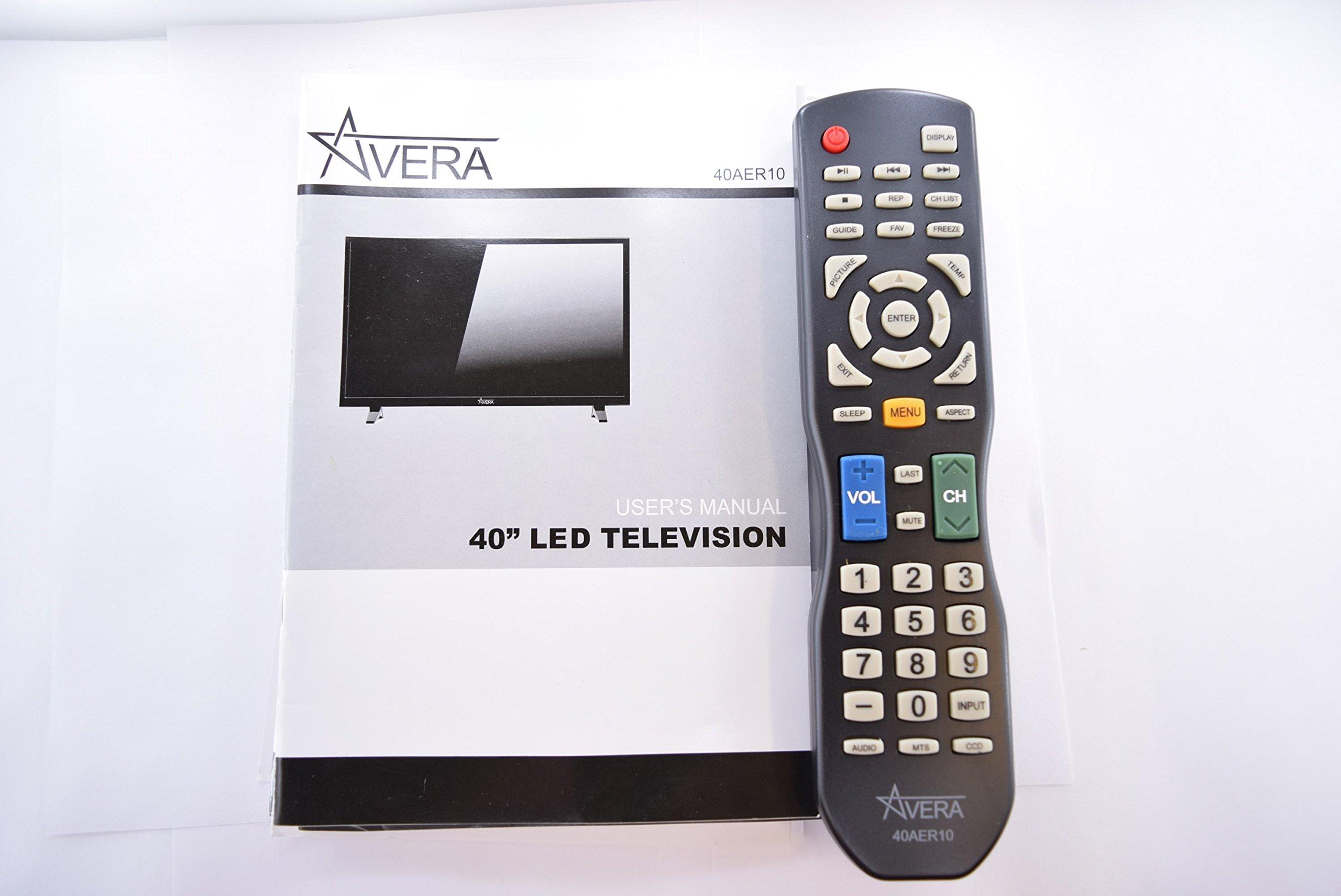 AVERA 40AER10 40AER10N TV REMOTE CONTROL AND USER MANUAL 20433