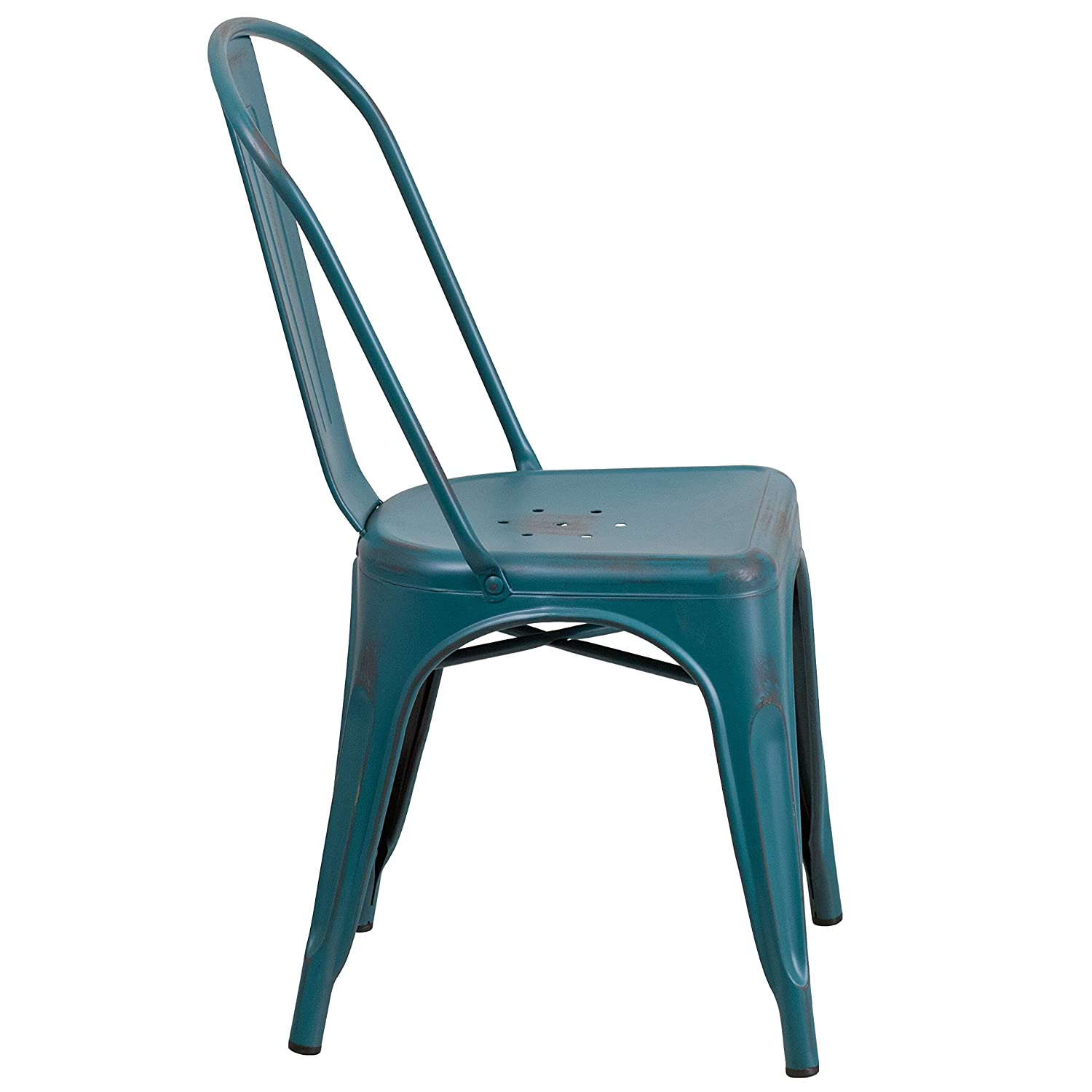 distressed metal furniture. Amazon.com: Flash Furniture Distressed Kelly Blue-Teal Metal Indoor-Outdoor Stackable Chair: Kitchen \u0026 Dining