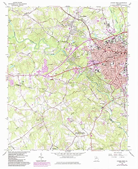 Map Of West Georgia.Amazon Com Yellowmaps Athens West Ga Topo Map 1 24000 Scale 7 5