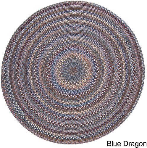 Rhody Rug Augusta Round Braided Wool Rug 8 x 8 Blue