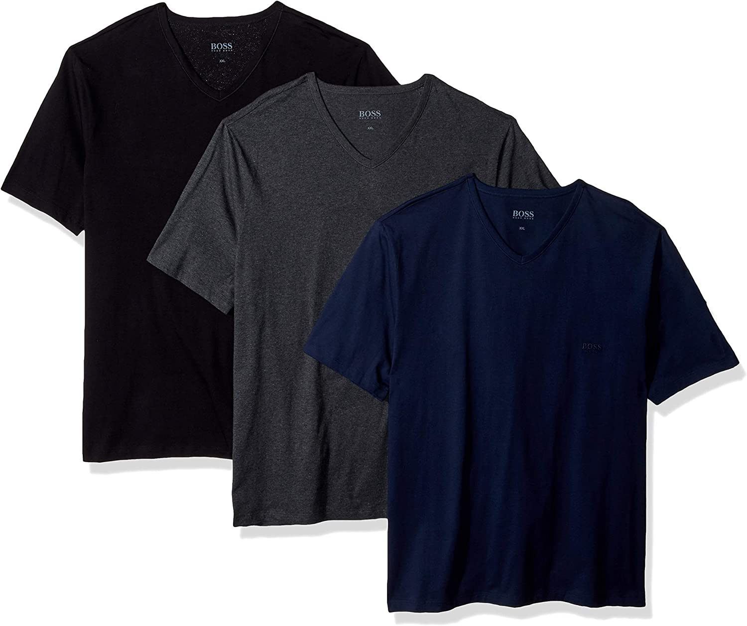 Hugo Boss Mens 3-Pack V-Neck Regular Fit Short Sleeve T-Shirt