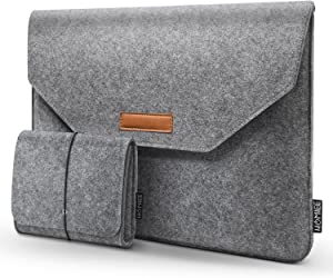 "HOMIEE MacBook Pro 13 Inch Sleeve Felt Laptop Protective Case for 2016-2018 MacBook Pro, 2017-2018 MacBook Air, 12.9"" iPad Pro, Dell XPS 13, Lenovo/HP/Chromebook Ultra Slim Notebook, Light Gray"