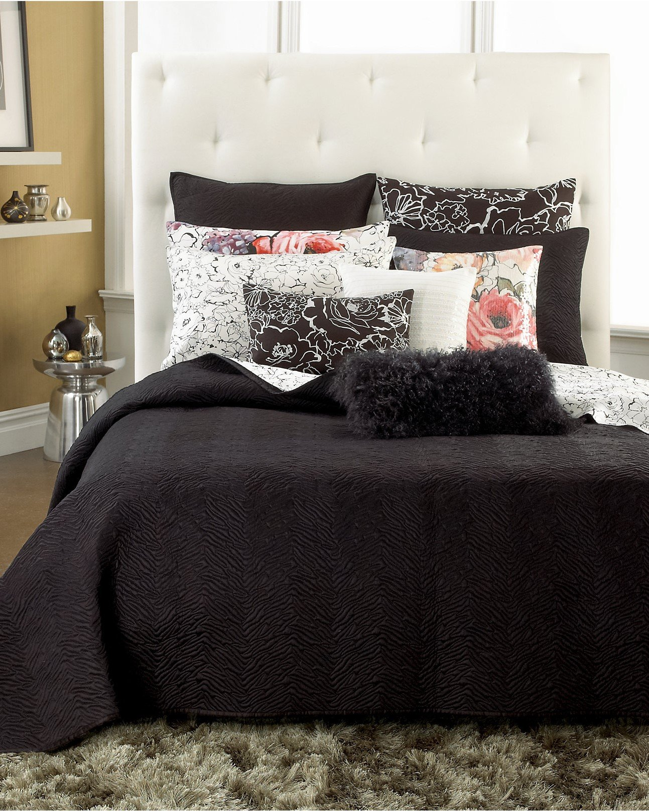 INC International Concepts Black Animal Print Quilted Twin Coverlet