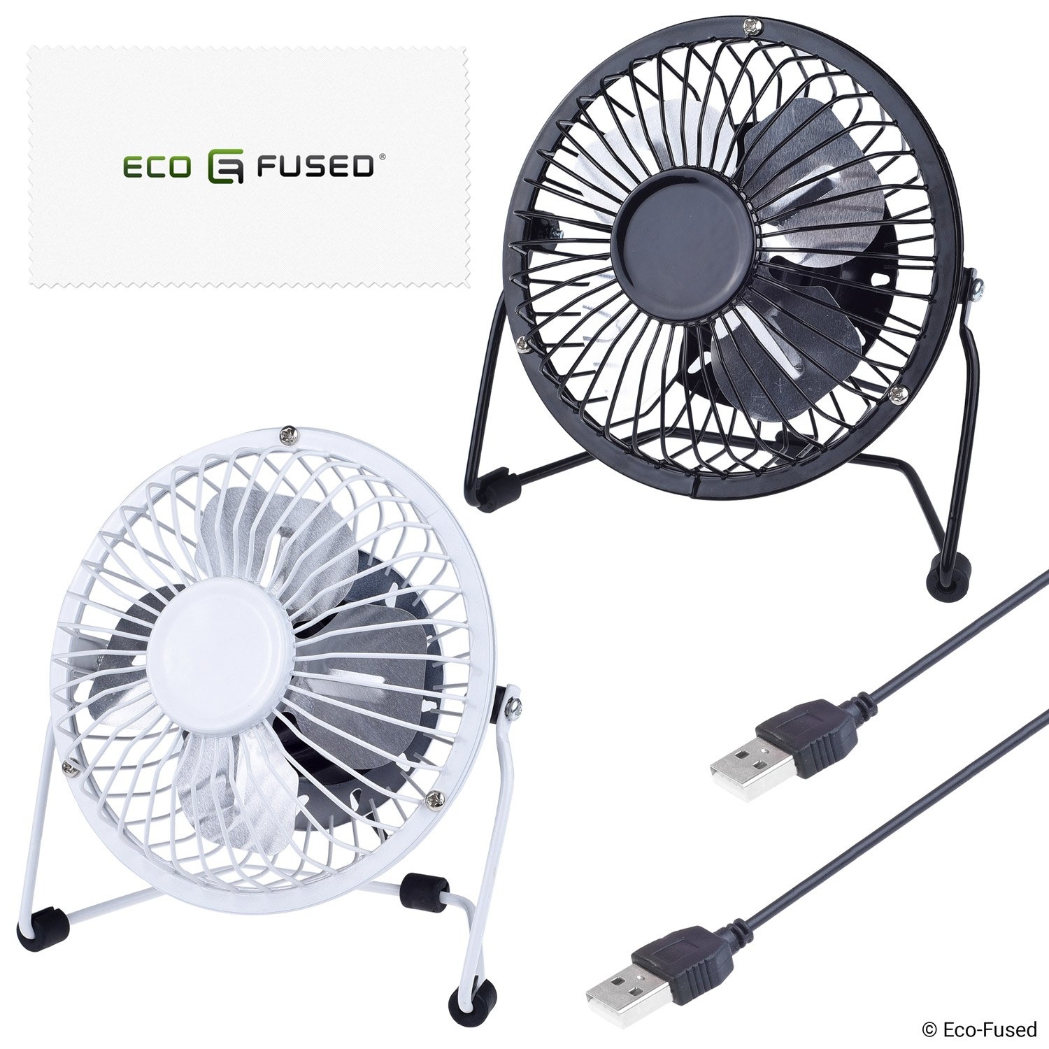 USB Fan (2x) - Table / Desk Model - Adjustable Angle - On / Off Switch - One Speed - USB Powered - For Desktop, Notebook, Gaming Console - Personal Air Flow Cooler - Silent - Ø 3.85 Inch (9.8 cm)