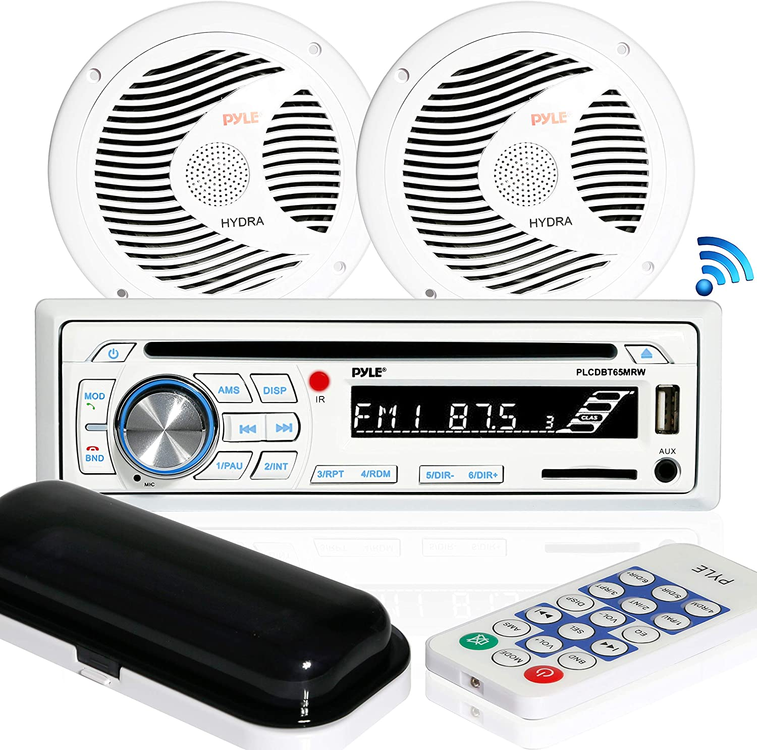 """Marine Stereo Receiver Speaker Kit - In-Dash LCD Digital Console Built-in Bluetooth & Microphone 6.5"""" Waterproof Speakers (2) w/ MP3/USB/SD/AUX/FM Radio Reader & Remote Control - Pyle PLCDBT65MRW"""