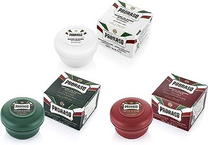 Proraso Taza de jabón de afeitar mixto Triple Pack de 3 x 150 ml Verde,blanco y rojo: Amazon.es: Belleza