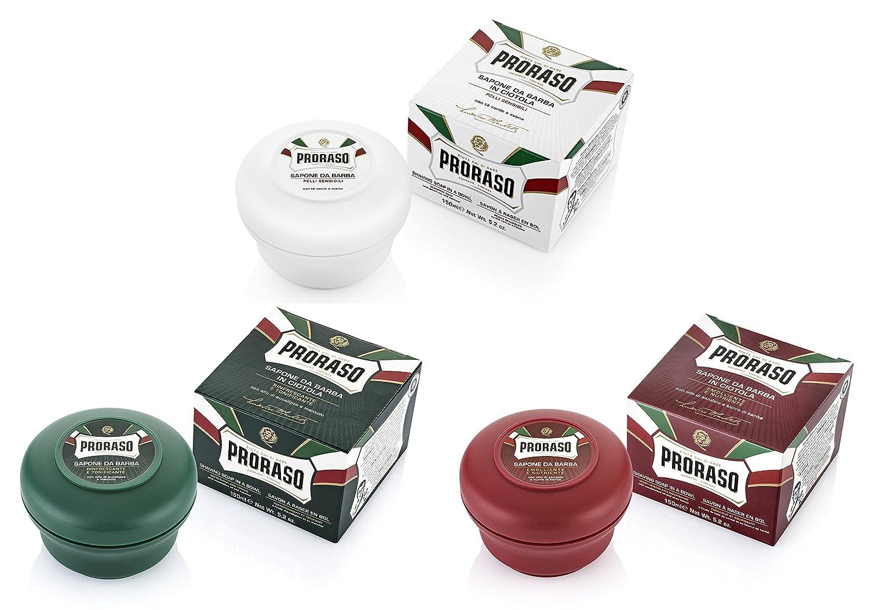 Proraso Jabón Para Afeitado cuenco Triple Pack Selección - 3 x 150ml cuenco/jar/pot - 3 x Verde