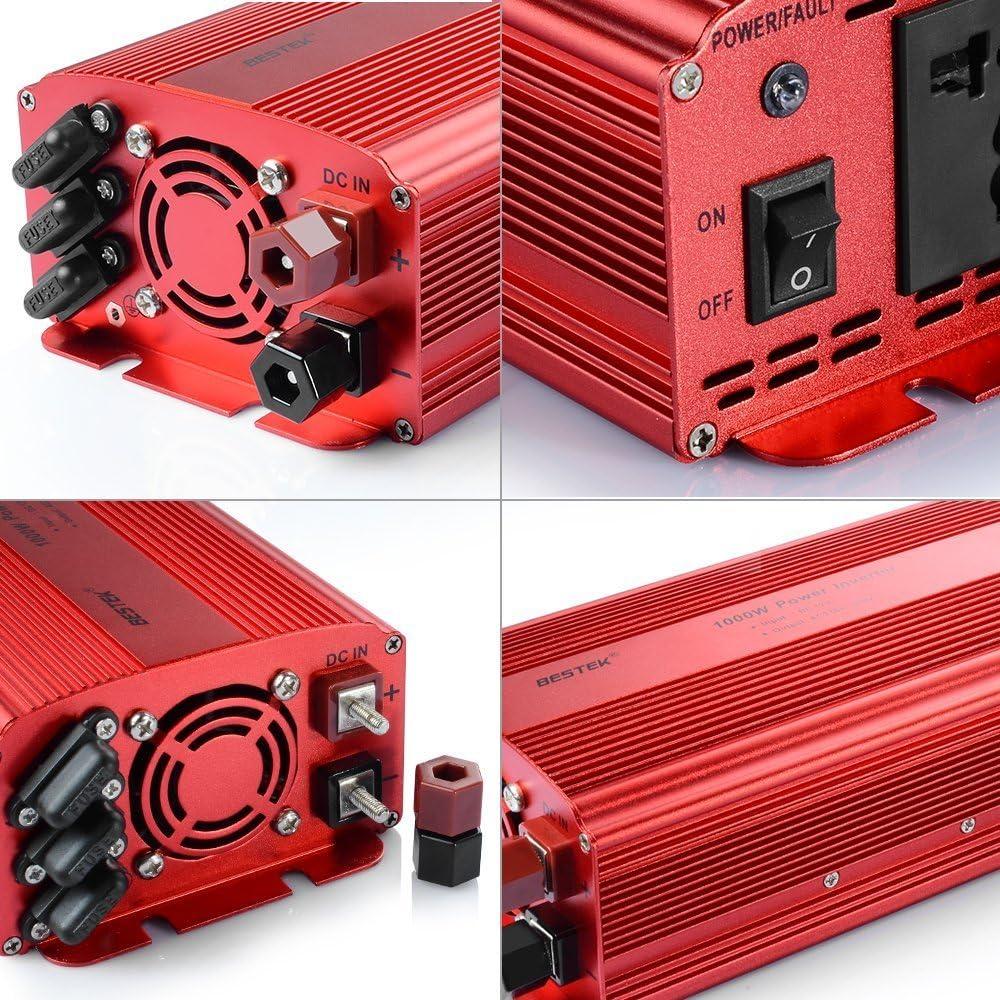 Pinzas de Cocodrilo, 4 Fusibles, Pantalla LCD BESTEK Inversor de Corriente 12v a 220v 1000w Onda Pura Transformador 12V a 220V para Coche con 2 Enchufes AC 2 Puertos USB