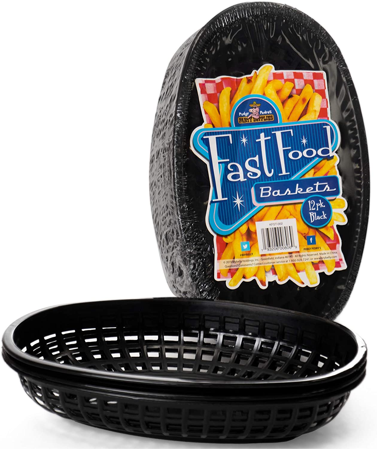 Fast Food Baskets - Classic Plastic Fry Basket, Oval-shaped Tray Design - Great for Fast Food Restaurant Supplies, Deli Serving, Bread Baskets, Chicken, Burgers, Sandwiches & Fries (12 Pack, Black)