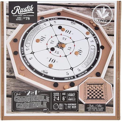 Rustik Bjr000135 Crokinole De Luxe 2 Games In 1 Multicolor