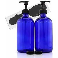 Cornucopia Brands 16-Ounce Cobalt Blue Glass Bottles w/Lotion Pump Dispensers (2-Pack); Refillable Liquid Soap Pump Bottles + Chalk Labels & Lids, BPA-Free Plastic Tops