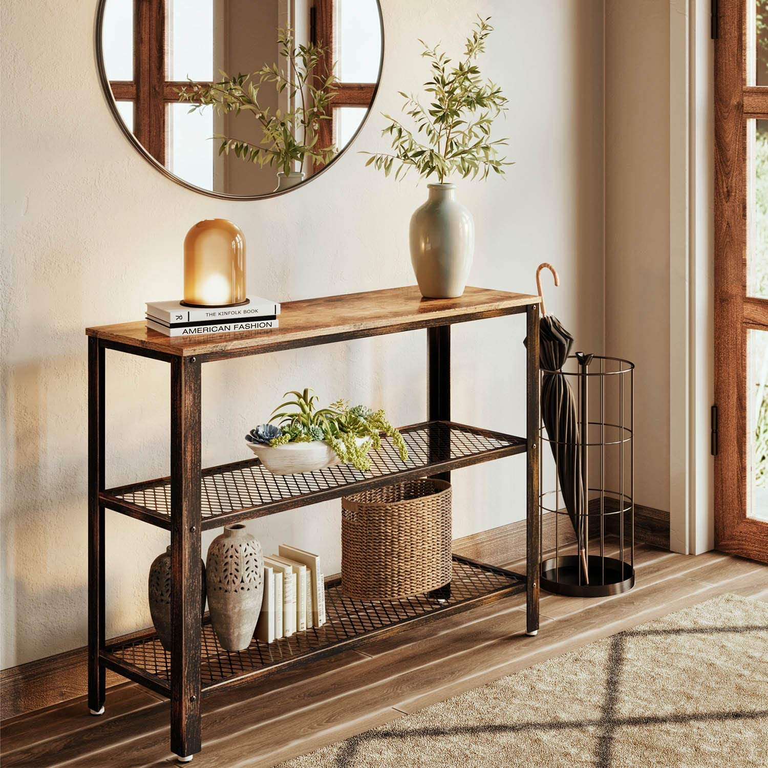Amazon Com Rolanstar Console Table Rustic Sofa Table With 2 Mesh Shelves Entryway Table With Retro Metal Frame For Entryway Living Room Kitchen Dining