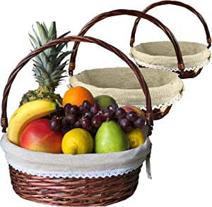 Trebisky Wicker Basket with Cello Wrap, Complete DIY Gift Set include Heat Shrink Cellophane Bags and Ribbons, Empty Basket for Wine, Picnic, Storage, Food, Easter, Christmas, Birthday (Brown 3PK)