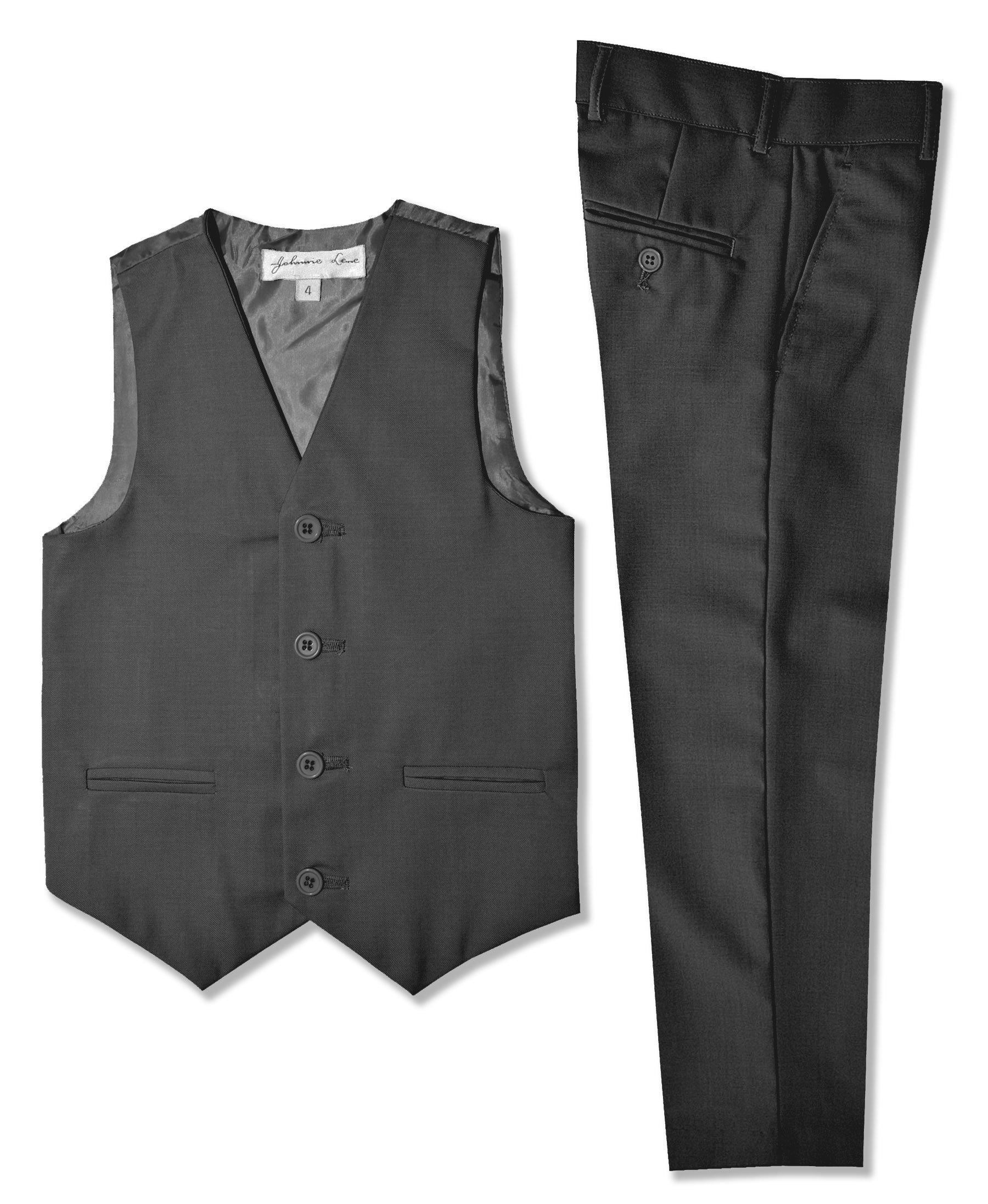 Boys Formal Vest And Pants Set #JL42 (7, Charcoal)
