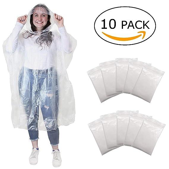Regenponcho Regencape Regenmäntel mit Kapuze - Regen Poncho für Damen, Herren und Kinder - Transparent, Einweg und Wasserdich