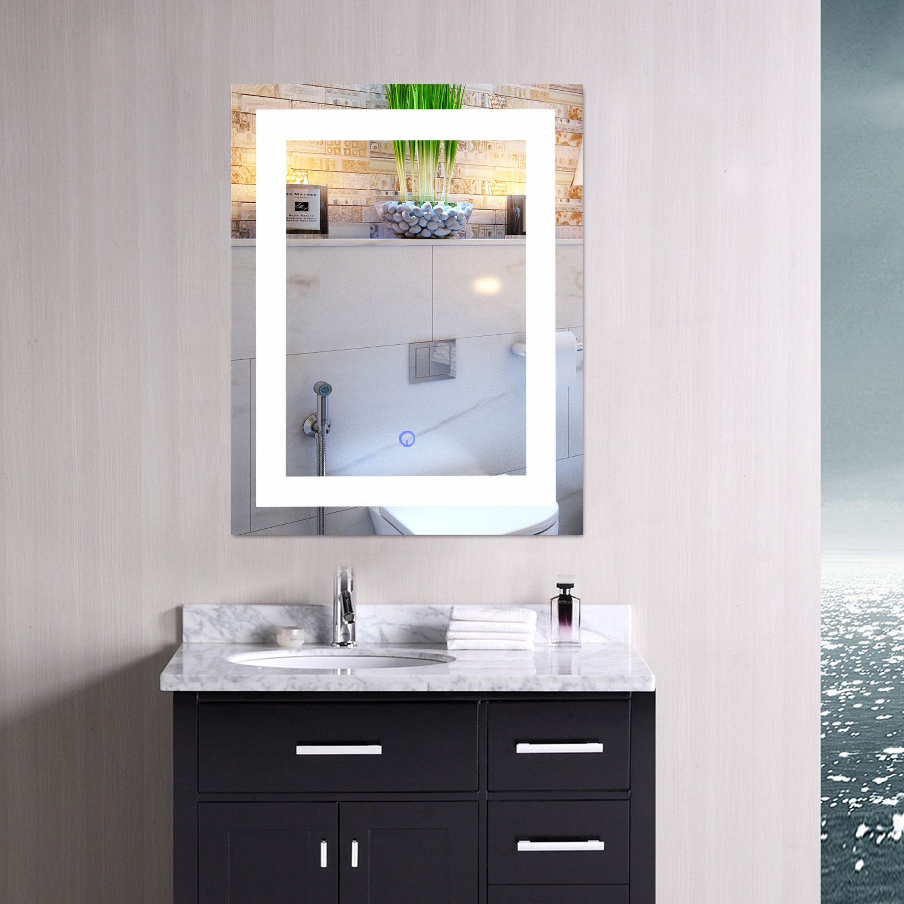 CO-Z Modern LED Bathroom Mirror, Dimmable Rectangle Lighted Wall ...
