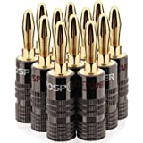 FosPower - Conectores tipo banana para bocinas (2 pares, conectores de doble tornillo, para bocinas, receptores de audio y vi