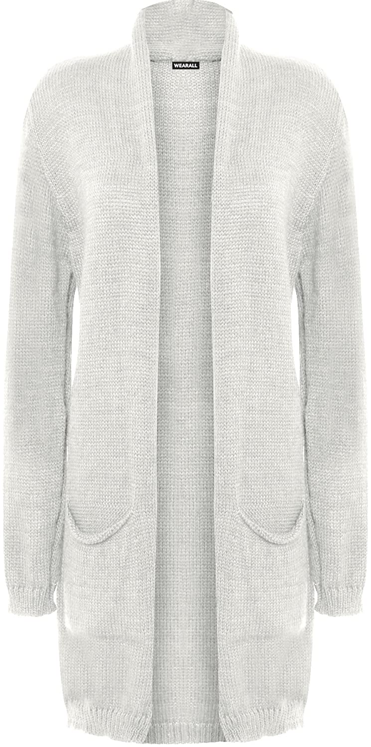 WEARALL Women's Cable Knitted Open Cardigan Pocket Long Sleeve Fisherman