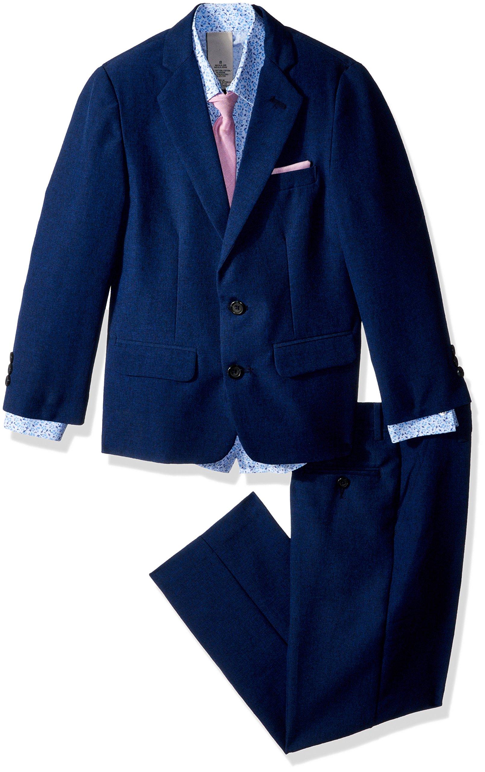 Kenneth Cole Big Boys' Four Piece Suit Set, Heather Academy Blue, 8